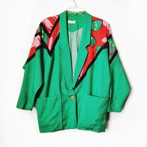 Vintage Cordelia Green Red Tropical Blazer Jacket